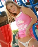 Teen web model caught naked on jungle gym