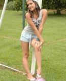 Pamela plays a naughty game of soccer